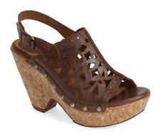 Ariat Fortune Studded Perforated Leather Slingback Sandal Wedge Brown 9.5 NEW