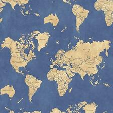 Windham Passport World Map on Blue 100% cotton by the yard x 43 inches Fabric