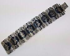Vintage Oriental SIAM STERLING silver niello 4 Cm Wide Cuff Bracelet Thaïlande