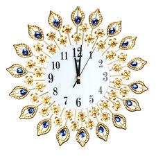 Modern DIY Crystal Jeweled Beaded Sunburst Peacock Wall Clock Gold Room Decor