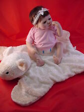 ARTIST DOLL, SHEILA MICHAEL, 16IN BABY W/CUDDLY LAMB, BIG BLUE EYES, VERY GOOD