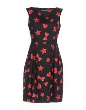 NWT MOSCHINO Heart and Star Sleeveless Print Dress, Red & Black, IT38