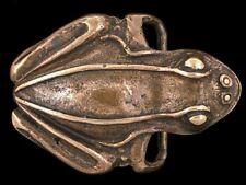 New listing Vtg Frog Toad Reptile Animal Nature Art Artwork Solid Brass Belt Buckle