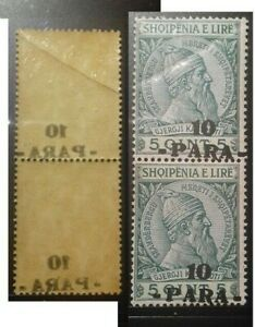 ALBANIA 1914 VARIETY OVERPRINT MOVED ON MICH. 42 PAIR  MINT NEVER HINGED MNH