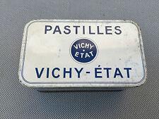 Ancienne boite tôle publicitaire pastilles Vichy pleines de boutons de couture
