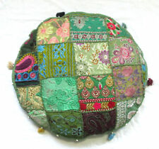 "32"" Indian Handmade Round Patchwork Home Decorative Floor Cushion Cover Green"