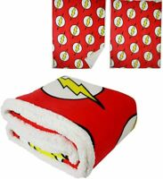 DC Comics Licensed The Flash Logo Super Hero Thick Micro Sherpa Throw Blanket