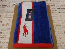 "Polo Ralph Lauren luxe serviette de plage 66""x35"" Cobolt Rouge XXL Feuille BNWT RRP £ 60"