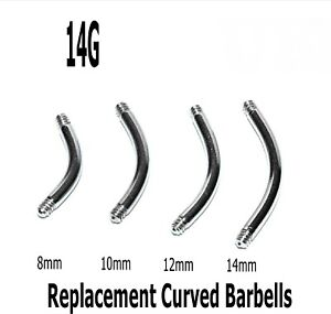 Threaded Barbell Blanks 10 Spare Surgical Steel Curved Eyebrow Belly Bars 14g