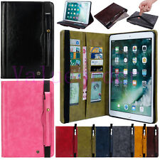 Luxury Leather Wallet Pen Card Slots Stand Cover Case for iPad 9.7 Pro Air Mini