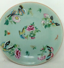 Antique 19th Century Chinese Canton Celadon Porcelain Plate Famille Rose