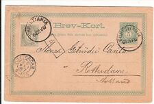 Norway 1887  stationery postcard uprated to Holland (card tape on back , tear)