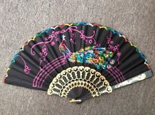 Cloth Peacock Pattern Embroidered Folding Hand Fan Gold Black Multicolored