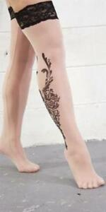 Sexy Fashion Tattoo Print Stockings Tan Lace Top Thigh Hi Women's Thigh Highs OS