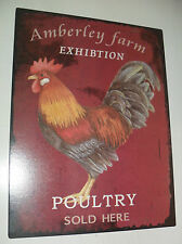 Metal Tin ROOSTER PLAQUE SIGN 'Poultry Sold Here' GREAT for Kitchen