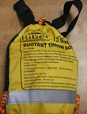 THROW ROPE 15MTS RESCUE LINE RIBER BUOYANT CANOE KAYAK SAFETY BOAT RIVER OR SEA