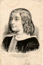 Stampa antica RITRATTO di RAGAZZO con lunghi capelli 1850 Old Print