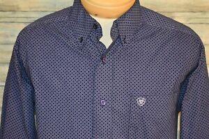 ARIAT Men's L/S Button Down Shirt Purple Print Size Large