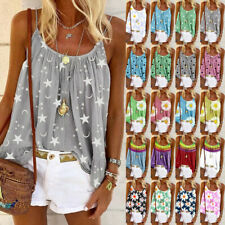 Women Swing Vest Sleeveless Cami Top Strappy Printed Plus Size Tops Shirt Blouse