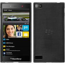 Funda de silicona BlackBerry Z3 brushed - plata + protector de pantalla