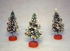 (3) small Bottle Brush Trees String For Hanging Wood Base Glass Ornaments 2K25