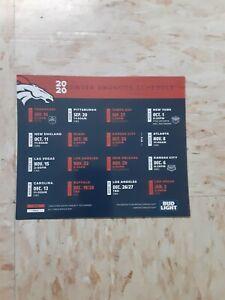 2020 Denver Broncos (NFL) Bud Light Beer official team magnet schedule