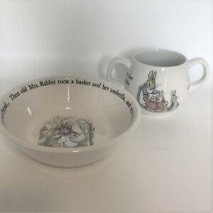Wedgewood of Etruria and Barlaston Beatrix Potter Designs Bowl Mug Peter Rabbit