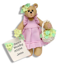 FLOWER GIRL PERSONALIZED  WEDDING Ornament handmade polymer clay by Deb & Co