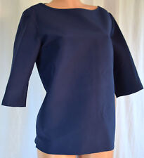MARNI BLUE COTTON SCOOP/CANNON NECK SHORT SLEEVES TOP/BLOUSE SIZE 46