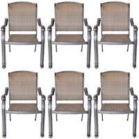 6 outdoor dining chairs Santa Clara cast aluminum powder coated patio furniture.