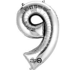"""Numero 9 Silver Foil Balloon 16"""" 40cm Aria Riempire Nome Età Compleanno Anniversario"""