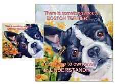 BOSTON TERRIER DOG HARDBOARD PLAQUE and LENS CLEANING CLOTH SANDRA COEN ARTIST