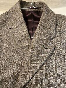 charles tyrwhitt - Brown Herringbone British Wool Cotton Epsom Coat - Size 42R