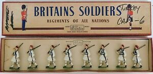 Old BRITAINS 1950s Lead, Greek Army Royal Guards Evzones, 8 Piece Boxed Set #196