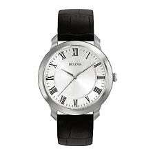 Bulova Dress Silver Dial Black Leather Band Men's Watch 96A133 SD