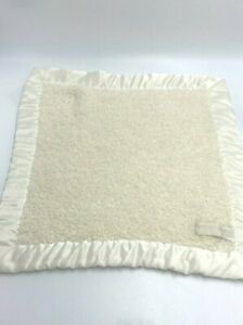 Barefoot Dreams CozyChic Solid Cream Chenille Baby Security Blanket Satin Trim