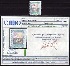 1625 - Repubblica - 1,55 euro, 2002 - Nuovo (** MNH) / Varietà, certificato