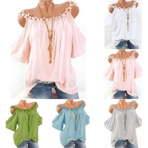 Women Boho Cold Shoulder Crochet Shirt Baggy Casual Tunic Tops Blouse Plus Size