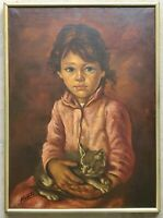 Vintage Original Oil Painting Portrait of a Crying Young Boy Holding His Pet Cat