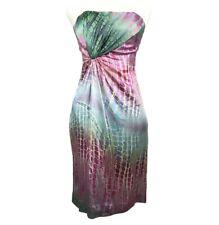 NWT Tufi Duek Dress Size 44 Green Pink Blue Strapless Knee Length Silk $494