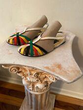 Andrea Pfister Vtg Shoes Sz 7 Cut Outs Flats Sandal Leather Lizard Snake Multi
