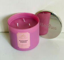 NEW! BATH & BODY WORKS WHITE BARN 3-WICK SCENTED CANDLE - RASPBERRY MIMOSA