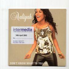 (IZ960) Aaliyah, Don't Know What To Tell Ya - 2003 DJ CD