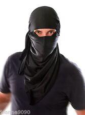 New Mens Adult Ninja Warrior Black Cloth Hood Headpiece Fancy Dress Costume Mask