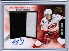 11/12 PANINI PRIME JUSTIN FAULK PRIME TIME ROOKIE SEAMS PATCH AUTO 15 HURRICANES