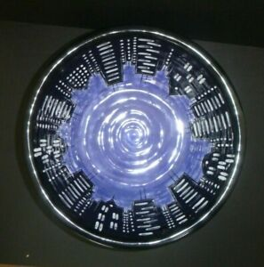 Lorrie Veasey Our Name Is Mud City Lights NYC Skyline Blue Large Pottery Bowl