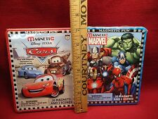 Set of 2 Magnetic Fun Activity Sets Tin Boxes Disney Pixar Cars and Marvel Heros