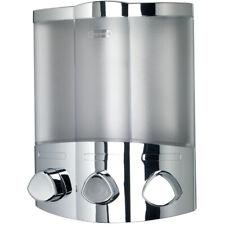 Triple Soap Dispenser Shampoo Shower Conditioner Bathroom Pump Chrome Croydex