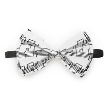 White Music Staff Bow Tie Adjustable Pre-tied Clip-on  Bow Tie Necktie Ties