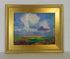 JOSE TRUJILLO FRAMED MODERN ABSTRACT IMPRESSIONIST OIL PAINTING RAIN CLOUDS SKY